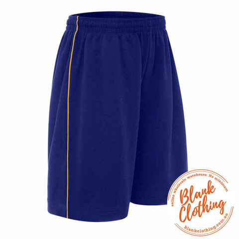 Kids Cotton Back Sports Shorts With Piping    Royal+Gold
