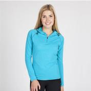 Wholesale Ladies Heather Half Zip Hooded Tshirt