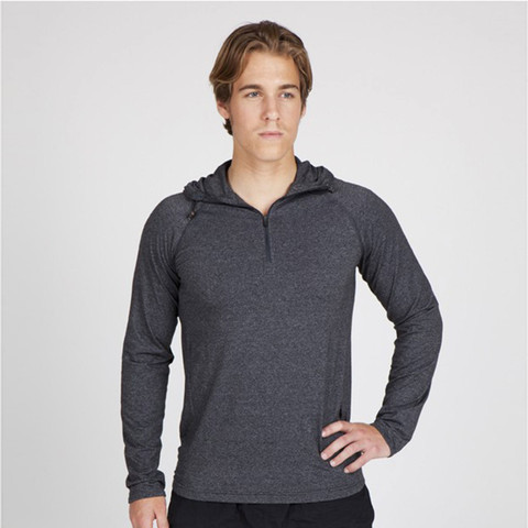 Wholesale Mens Heather Half Zip Hooded Tshirt
