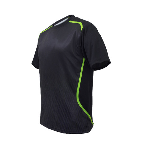 Bulk Buy Sublimated Sports TShirt | Black+Lime