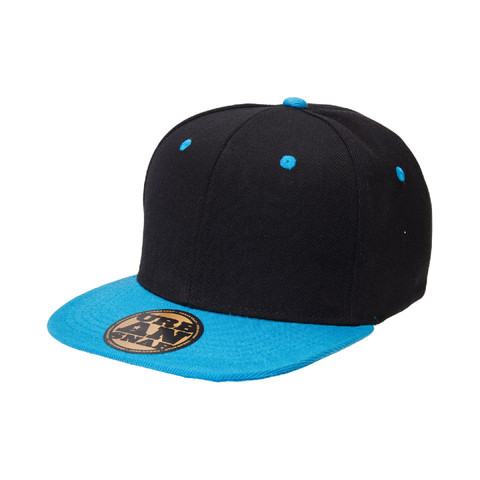 youth urban snap back cap black+aqua