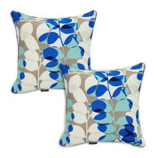blue floral outdoor seat cushions | Set of 2