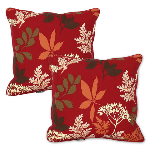red floral outdoor throw cushions | Set of 2