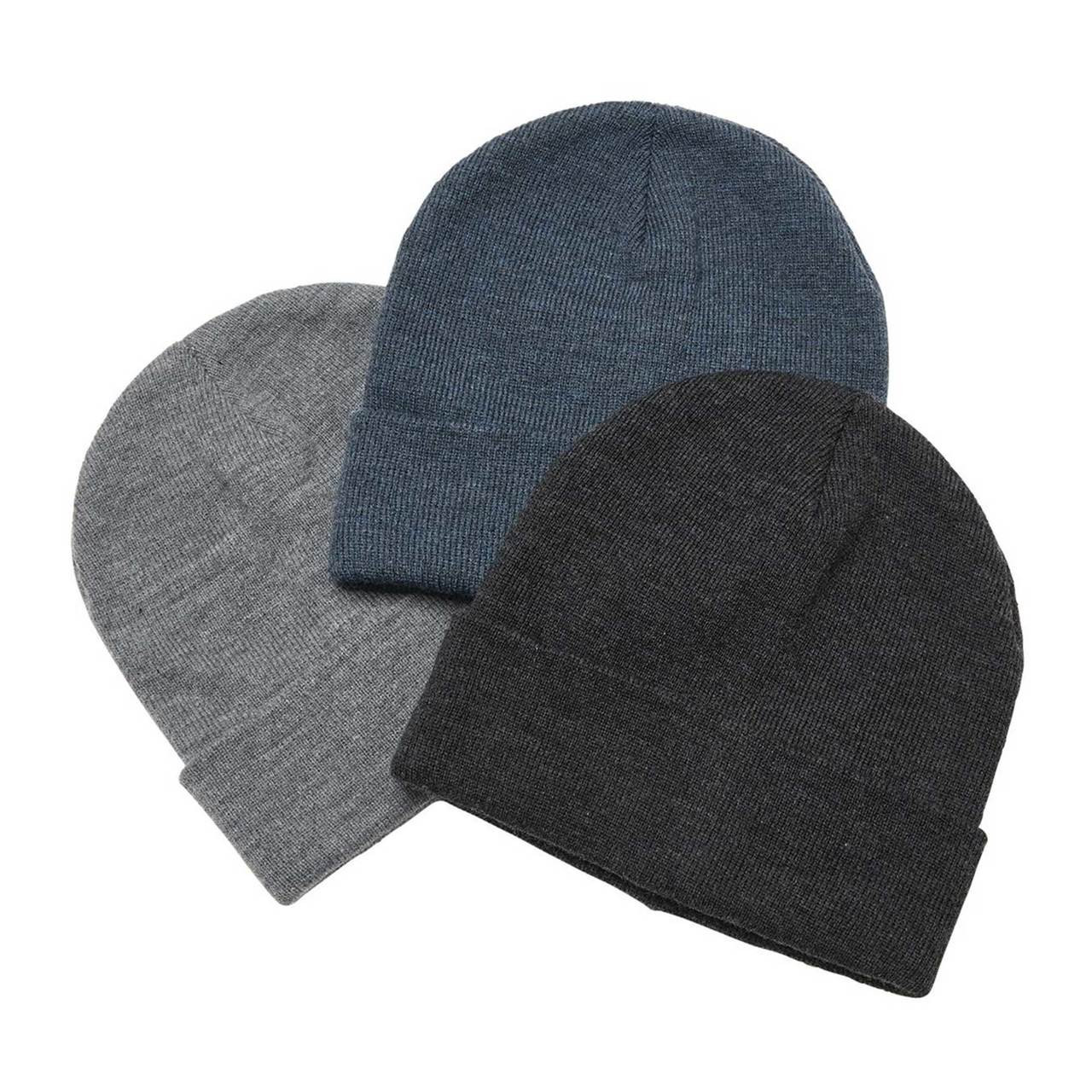 Plain Heather Knit Beanie with Roll Up Cuff  a0b0c6c1214