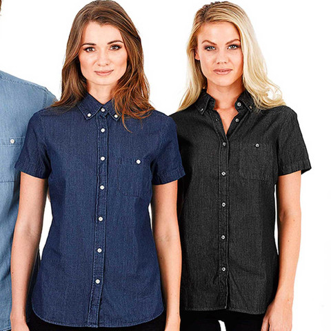 Wholesale Women's Short Sleeve Vintage Denim Shirts