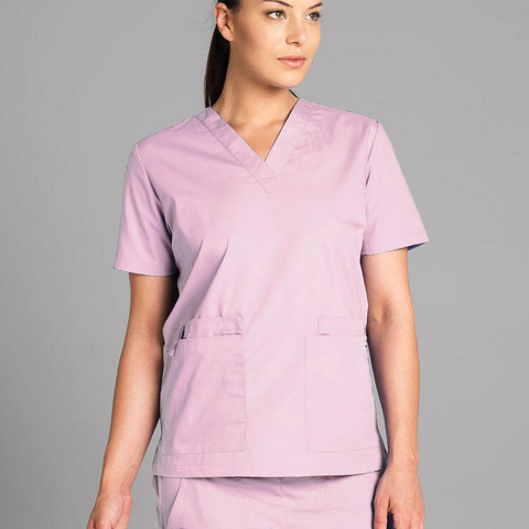 BONES | ladies scrubs top | pink