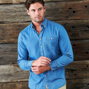 Wholesale Mens Long Sleeves Vintage Denim Shirt
