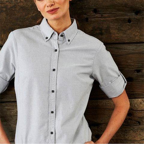 Ladies Garment Washed 3\4 Sleeve Oxford Shirt