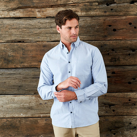 Men's Long Sleeve Garment Washed Oxford Shirt