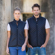 Black Unisex Quilted Vest with Fleece Lining