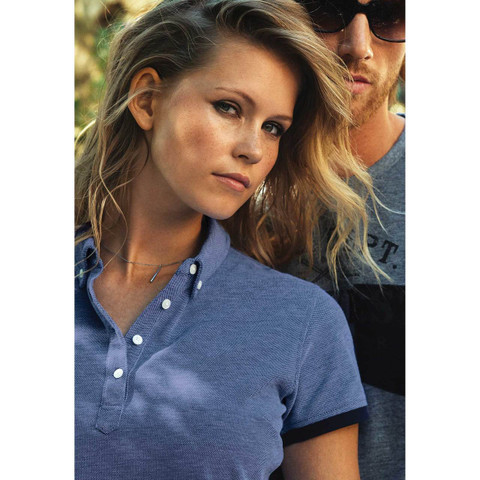 LARKFORD | Ladies Melange Modern Fit Pique Polo