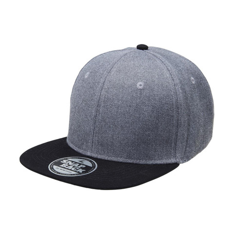Plain Snapback Cap | Charcoal Heather + Black
