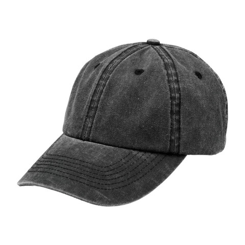 Distressed Washed Chino Cap | Plain Black