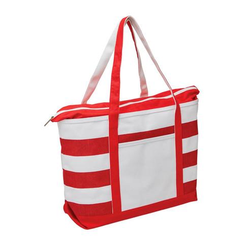 Wholesale Premium Canvas Striped Tote | Natural+Red