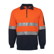 Safety Hi Vis Zip Fleece Sweater (3M Tape) | Orange+Navy