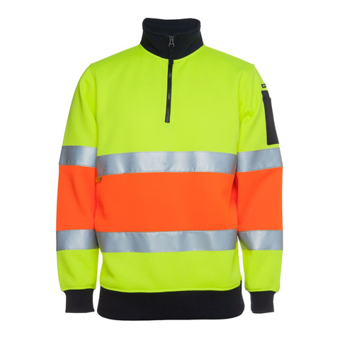 Safety Hi Vis 1/2 Zip Fleecy Sweater (3M Tape) | Lime+Orange
