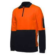 Hi Vis Heavy Weight 1/2 Zip Fleecy Sweater | Orange+Navy