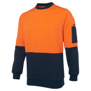 Hi Vis Fleecy Crew Neck Jumper | Orange+Navy
