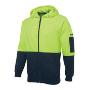 Hi Vis Fleecy Zip Hoodie Jacket | Lime+Navy