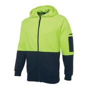 Hi Vis Fleecy Zip Hoodie Jacket | Lime+Navy