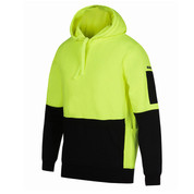 Workwear Safety Hi Vis Fleece Hoodie | Lime+Black