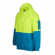 Safety Hi Vis Fleecy Hoody Pullover | Lime+Aqua