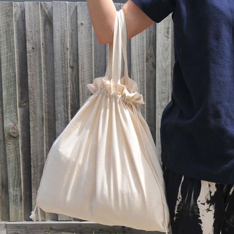 DOUBLE Calico Cotton Drawstring Bag