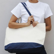 WHITSUNDAY Cotton Canvas Tote Bag Natural+Navy