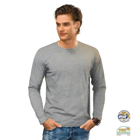 Wholesale Men Long Sleeve Heather Grey Tshirt