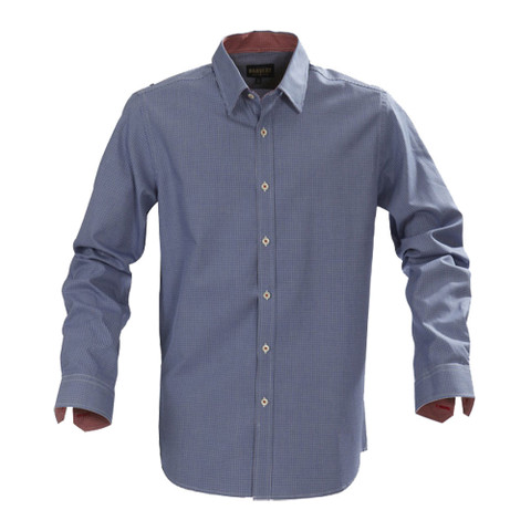 BRIGHTON Men checkered casual shirt contrast Blue