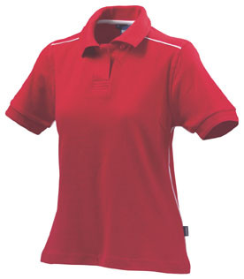 VERONA Women cotton jacquard polo shirts Red/White