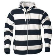 ZU Wome zipper hoodies polar-lined stripe Navy/White