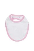 Bulk Organic Cotton Baby Bib White + Pink