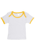 Organic Cotton Blank Baby Tshirt | White +Yellow