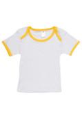 Organic Cotton Blank Baby Tshirt | White +Yellow
