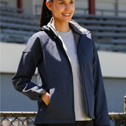 Bulk Buy Womens soft shell hooded jackets | marle navy+charcoal