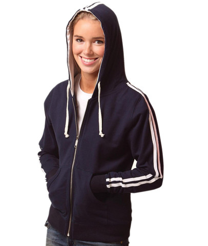 DELTA Wome zipper hoodies twin-stripe