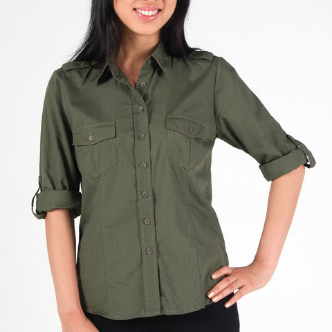 Womens military style shirt dress