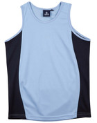 Mens plain contrast team singlet Sky/Navy