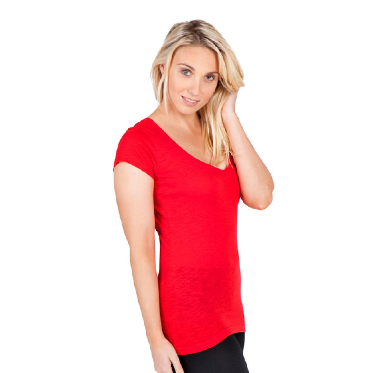 126b4ae481b87 Blank ladies t-shirts v-neck raw-weave slim fit