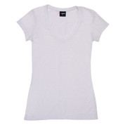 Blank Women t-shirts v-neck raw-weave slim fit White
