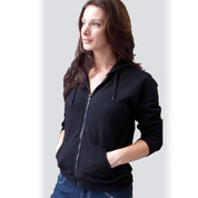wholesale womens plain zip hoodie jacket vintage-wash