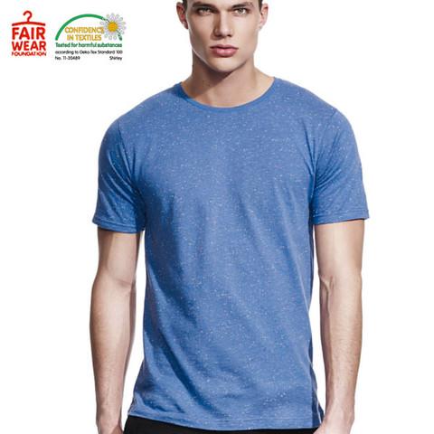 eco friendly | cotton-rich mens speckled tshirt | blue