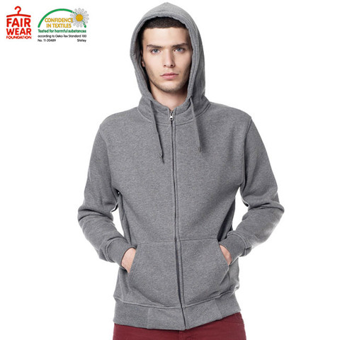 BAXTER | organic mens high neck hoodie | dark heather | fair trade