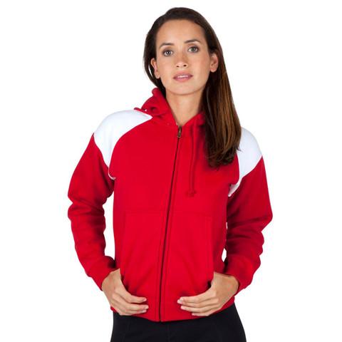 Wholesale Plain hoodie jacket two-tone | Red+white