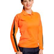 TrueDry hi-vis long sleeve polo with reflective piping | orange+navy