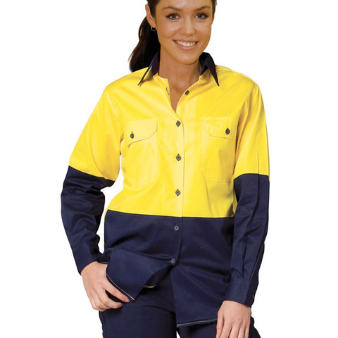 Safety fluro long sleeve shirt womens safety wear online for Womens yellow long sleeve shirt