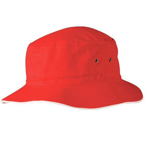 blank contrast soft bucket hat | red/white
