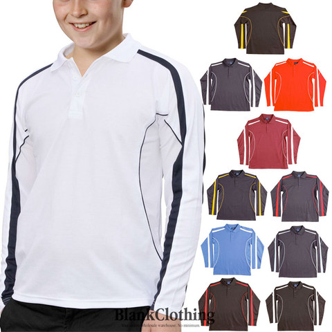 MERIT | kids quick dry contrast polo | long sleeves