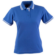 ladies quickdry contrast trim polo | royal + white